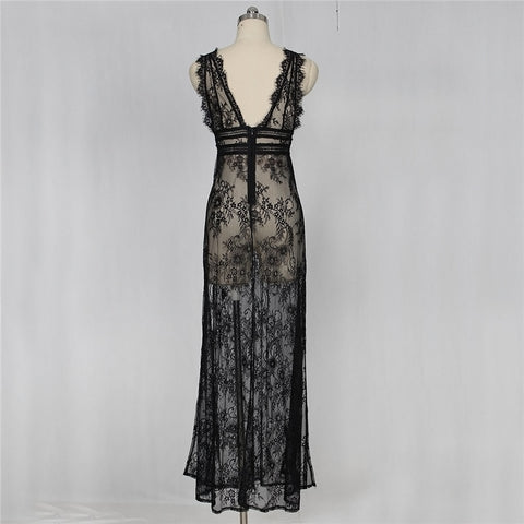 Image of Women's Deep V Neck Sexy Lace See Through High Slit Long Maxi Lingerie