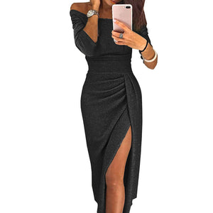 Sexy Dress Off Shoulder Solid High Split