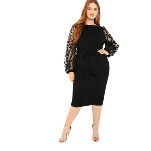 Club Dresses | Club Outfits | Party Dresses Plus Size, Women Plus Size Elegant Black Pencil Dress With Applique Mesh Lantern Sleeve High Street Belted Slim Fit Party Dresses - Clubbing Love