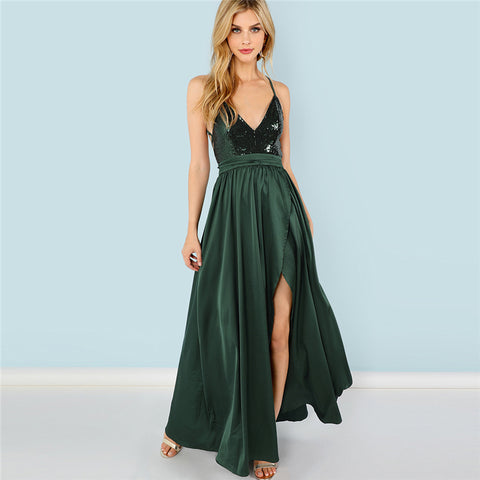 Image of Green Sequin Split High Waist Backless Sexy Satin - Club Dresses | Party Dresses | Club Outfits. Club Dresses from ClubbingLove.com