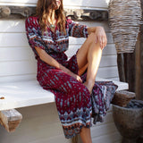 Club Dresses | Club Outfits | Party Dresses Dress, Long Maxi Bohemia Floral Print Summer Beach Split Stylish Dress - Clubbing Love