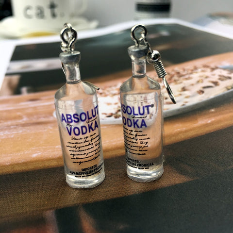 Vodka Bottle Drop Earrings Funny Drinking Style Transparent Bottle Dangle Earrings for Women Girl