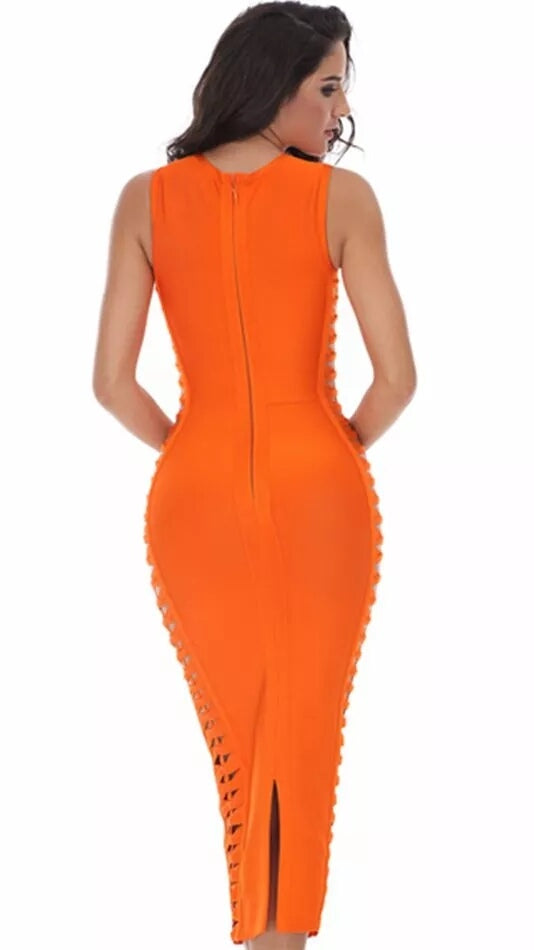 Club Dresses | Club Outfits | Party Dresses Dress, Women Party Clubwear Celebrity Bandage Dress Runway Orange Dress O-Neck Side hollowed out Club dresses Vestidos - Clubbing Love