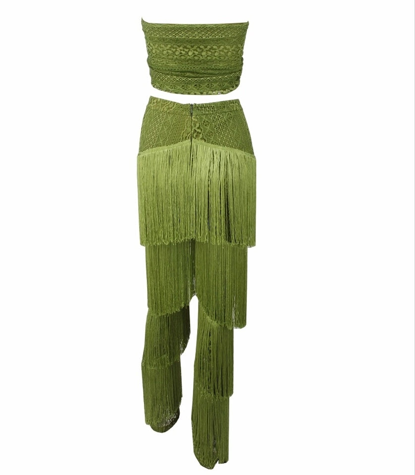 Club Dresses | Club Outfits | Party Dresses Dress, Club Dresses | Party Dresses | Green Lace Strap Two-Pieces - Clubbing Love