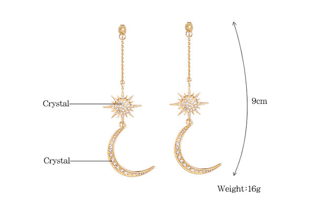 Club Dresses | Club Outfits | Party Dresses Shiny Crystal Star Moon Charming Earrings, Shiny Crystal Star Moon Charming Earrings - Clubbing Love