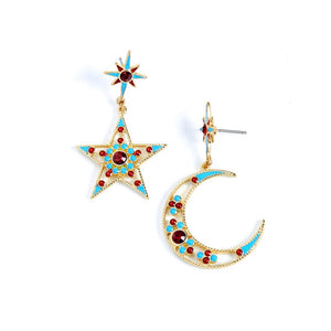 Star Moon Dangle Earrings