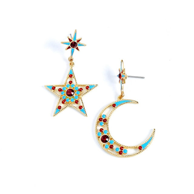 Club Dresses | Club Outfits | Party Dresses Star Moon Dangle Earrings, Star Moon Dangle Earrings - Clubbing Love