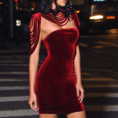 Sexy Bandage Removable Collar Stretch Strapless Velvet Body con Mini Dress Partywear Clubwear