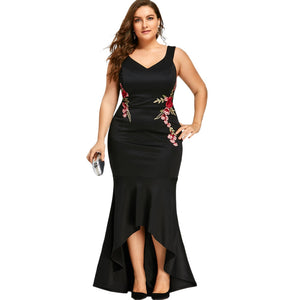 Club Dresses | Club Outfits | Party Dresses plus size, Women Plus Size Embroidery Rose Mermaid Maxi Dress Sexy Black Tank V Neck Female Dress Evening Wear Long Elegant Party - Clubbing Love