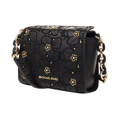 Image of Michael Kors Sofia Small Leather Perforated Floral Studded Crossbody Purse
