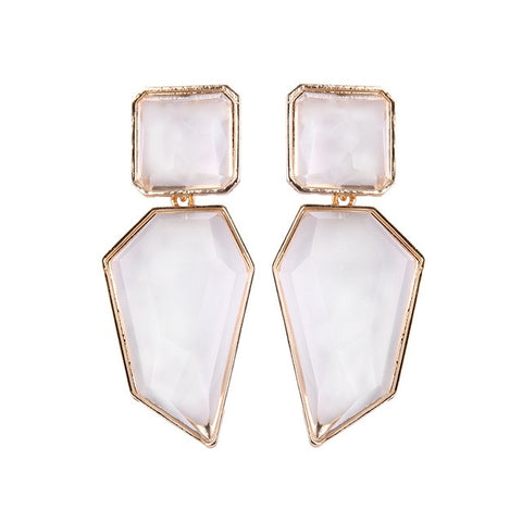 White Drop Earrings Geometric Big Romantic Dangle Earring Women Wedding Statement Handmade