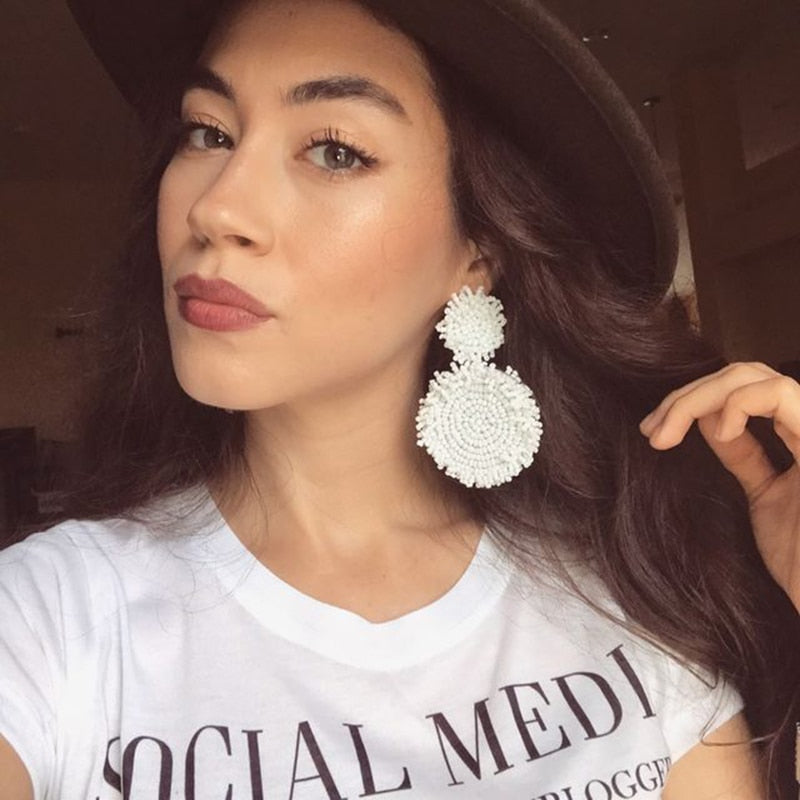 Club Dresses | Club Outfits | Party Dresses Under $9.99, White Drop Earrings Geometric Big Romantic Dangle Earring Women Wedding Statement Handmade - Clubbing Love