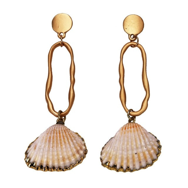 Club Dresses | Club Outfits | Party Dresses Under $9.99, Womens Multicolor Golden Accent Ocean Seashell Couch Mermaid Sea Witch Drop Dangle Earrings - Clubbing Love