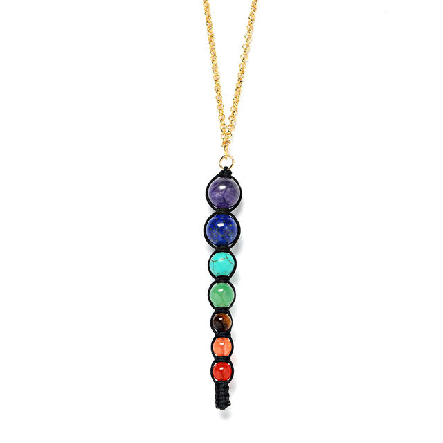 Club Dresses | Club Outfits | Party Dresses Multicolor Lava 7 Chakra Healing Balance Beads Necklace, Multicolor Lava 7 Chakra Healing Balance Beads Necklace - Clubbing Love