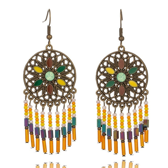 Club Dresses | Club Outfits | Party Dresses jewelry, 4 pairs Ethnic Style Vintage Bohemian Antique Colorful Gemstone Drop Earrings - Clubbing Love