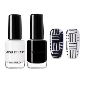 Club Dresses | Club Outfits | Party Dresses Nail Polish, Nail Stamping Polish Set Black White Gold Nail Art Printing Varnish Manicure Lacquer DIY Design for Stamping Plate - Clubbing Love