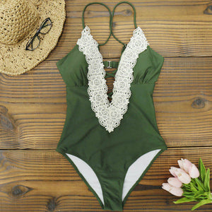 Women's Lace Crochet Deep V Neck Bathing Suit Back Cutout One Piece Monokini Swimsuit