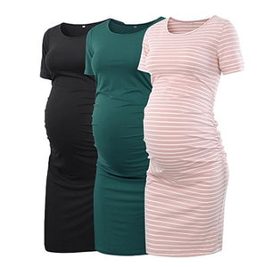 Club Dresses | Club Outfits | Party Dresses Maternity, Pack of 3pcs Women's Maternity Bodycon Ruched Side Dress Casual Short & 3/4 Sleeve Dress For Daily Wearing Or Baby Shower - Clubbing Love