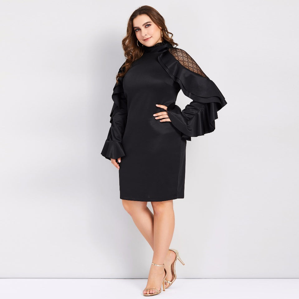 Club Dresses | Club Outfits | Party Dresses Plus Size, Women Plus Size Bodycon Elegant long sleeve Falbala ruffles Party Dress One Shoulder Elegant Cocktail Evening Pencil Formal Dress - Clubbing Love