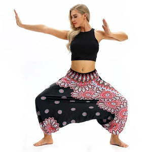 Club Dresses | Club Outfits | Party Dresses Boho Harem Yoga Pants, Boho Women's Rayon Print Smocked Waist Boho Harem Yoga Pants - Clubbing Love