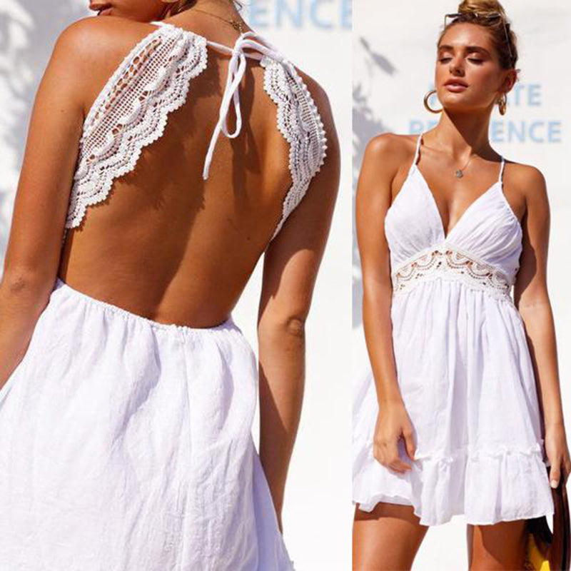 Club Dresses | Club Outfits | Party Dresses , Summer Women Lace Dress Sexy Backless V-neck Beach Dresses Fashion Sleeveless Spaghetti Strap White Casual Mini Sundress - Clubbing Love