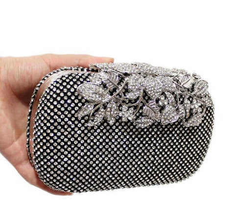 Womens Elegant Rhinestone Floral Flower Clasp Bling Cocktail Evening Handbag