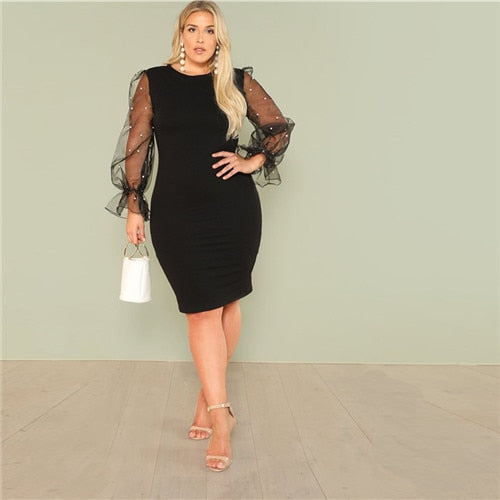 Club Dresses | Club Outfits | Party Dresses Plus Size, Women's Plus Size Black Pearl Beading Mesh Ruffle Sleeve Elegant Body con Dresses Blue Stretchy Solid Slim Pencil Dress - Clubbing Love