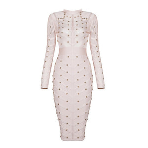 Women's Mesh Studded Long Sleeve Bandage Bodycon Party Dress