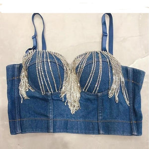 Denim Jeans Push Up Bustier Night Club Party Crop Top