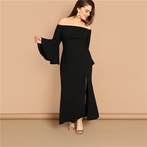 Club Dresses | Club Outfits | Party Dresses plus size, Women Plus Size Elegant Off the Shoulder Side Split Dress Casual Flounce Sleeve Dresses Spring Ruffle Hem Dress - Clubbing Love