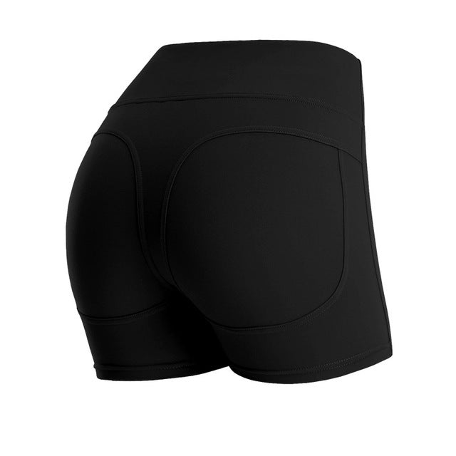 High Waist Workout Yoga Running Compression Exercise Shorts Side Pockets