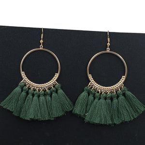 Handmade Statement Tassel Earrings for Women Vintage Round Long Drop Earrings Wedding Party Bridal Fringed Jewelry Gift - Club Dresses | Party Dresses | Club Outfits. Club Dresses from ClubbingLove.com