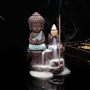 Club Dresses | Club Outfits | Party Dresses Little Buddha Incense Burner Holder Backflow Buddha Little Monk, Incense Burner Holder Backflow Tower Cones Sticks Ceramic Porcelain Buddha Monk Ash Catcher - Clubbing Love