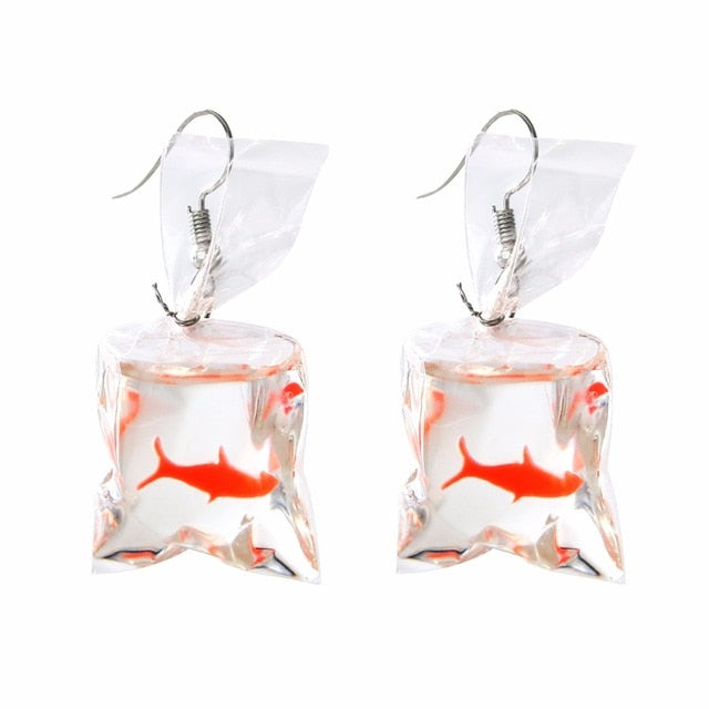 Club Dresses | Club Outfits | Party Dresses Under $9.99, Transparent Bag Goldfish Dangle Earring Shellhard Bijoux Femme boucle d'oreille Hook Earrings - Clubbing Love