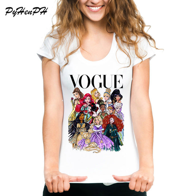 Club Dresses | Club Outfits | Party Dresses T-shirt, VOGUE Punk Princess Printed T Shirt Summer Style Fashion Women T-Shirt Short Sleeve Casual Tees Tops - Clubbing Love