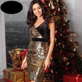Club Dresses | Club Outfits | Party Dresses Dress, Women V Neck Sexy Sparkly Split Cocktail Party Dress Bodycon Sequin Dress Sparkly Split - Clubbing Love