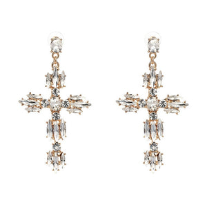 Club Dresses | Club Outfits | Party Dresses Under $9.99, Vintage Boho Crystal Cross Baroque Bohemian Large Long Drop Earrings for Women Girls - Clubbing Love