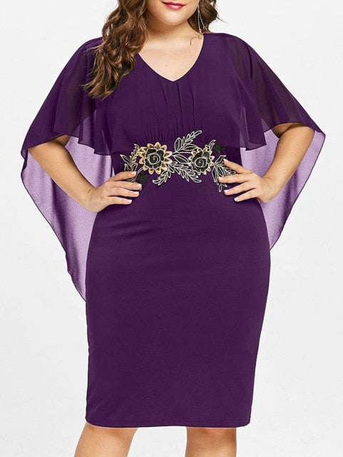 Club Dresses | Club Outfits | Party Dresses plus size, Women Plus Size Embroidery Capelet Semi Sheer V Neck Party Dress Half Sleeves Sheath Dress - Clubbing Love