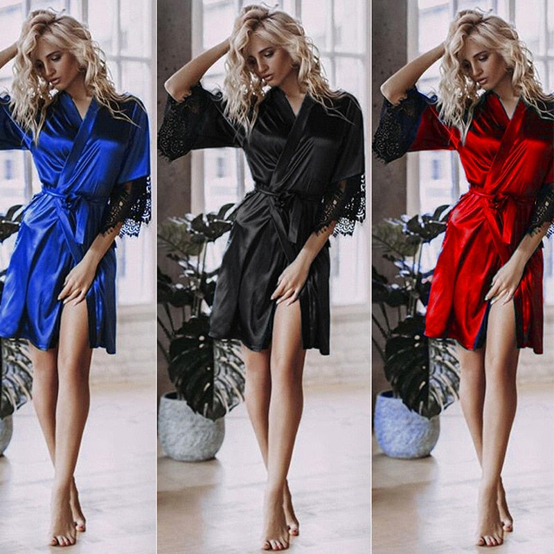 Women Sexy Faux Silk Kimono Night Gown