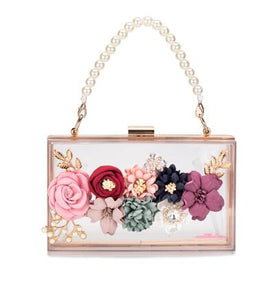 Club Dresses | Club Outfits | Party Dresses Pearl Hand Chain Floral Clear Acrylic Box Clutch Bag, Pearl Hand Chain Floral Clear Acrylic Box Clutch Bag - Clubbing Love