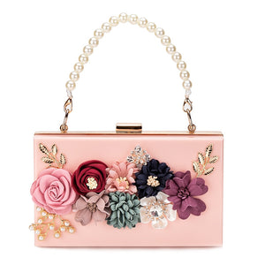 Pearl Hand Chain Floral Clear Acrylic Box Clutch Bag