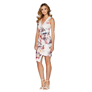 Summer Dress Sleeveless Asymmetrical Elegant Floral Print V-neck Wedding Party Sheath Bodycon Wrap Mini Office Dress
