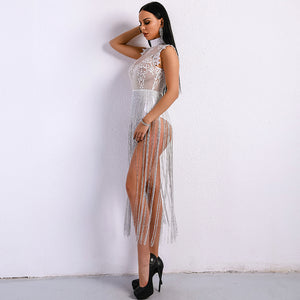 Sexy Tassel Playsuits See Through Glitter Bodysuit