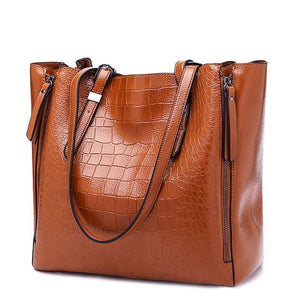 Women's Large Crocodile Pattern Leather Tote