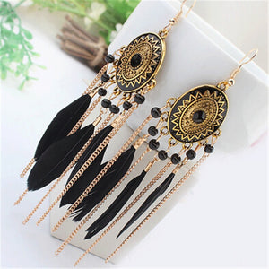 Club Dresses | Club Outfits | Party Dresses Under $9.99, Long Tassel Feather Style Ethnic Boho Big Dangle Statement Earring - Clubbing Love