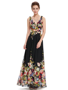 Club Dresses | Club Outfits | Party Dresses Dress, Unique Black Printed Summer Dresses Sexy Double V-neck Sexy Sleeveless Black Long Flower Print Chiffon Evening Dress  Empire Waist - Clubbing Love