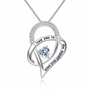 Jewelry Sterling Silver I Love You To The Moon and Back Love Heart Cubic Zirconia Pendant Necklace - Club Dresses | Party Dresses | Club Outfits. Club Dresses from ClubbingLove.com