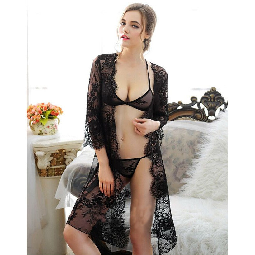 Club Dresses | Club Outfits | Party Dresses Lingerie, Sexy Lace Erotic Lingerie Transparent Nightgowns Full Lace Transparent Robe Set + Bra Panty - Clubbing Love