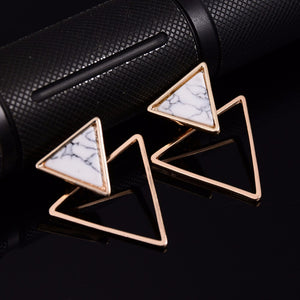 Punk Design Fashion Square Triangle Round Geometric Faux Stone Stud Earring Women Party Jewelry - Club Dresses | Party Dresses | Club Outfits. Club Dresses from ClubbingLove.com