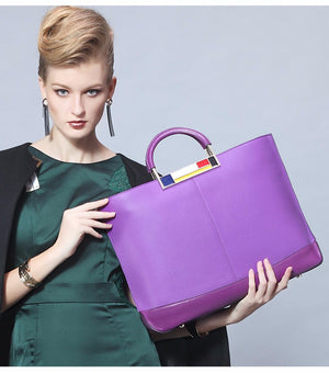 Women Flag Metal Large Tote Bags Purple European Brand Designer Real Leather Handbags Roomy Big Bags Laptop Purse - Club Dresses | Party Dresses | Club Outfits. Club Dresses from ClubbingLove.com